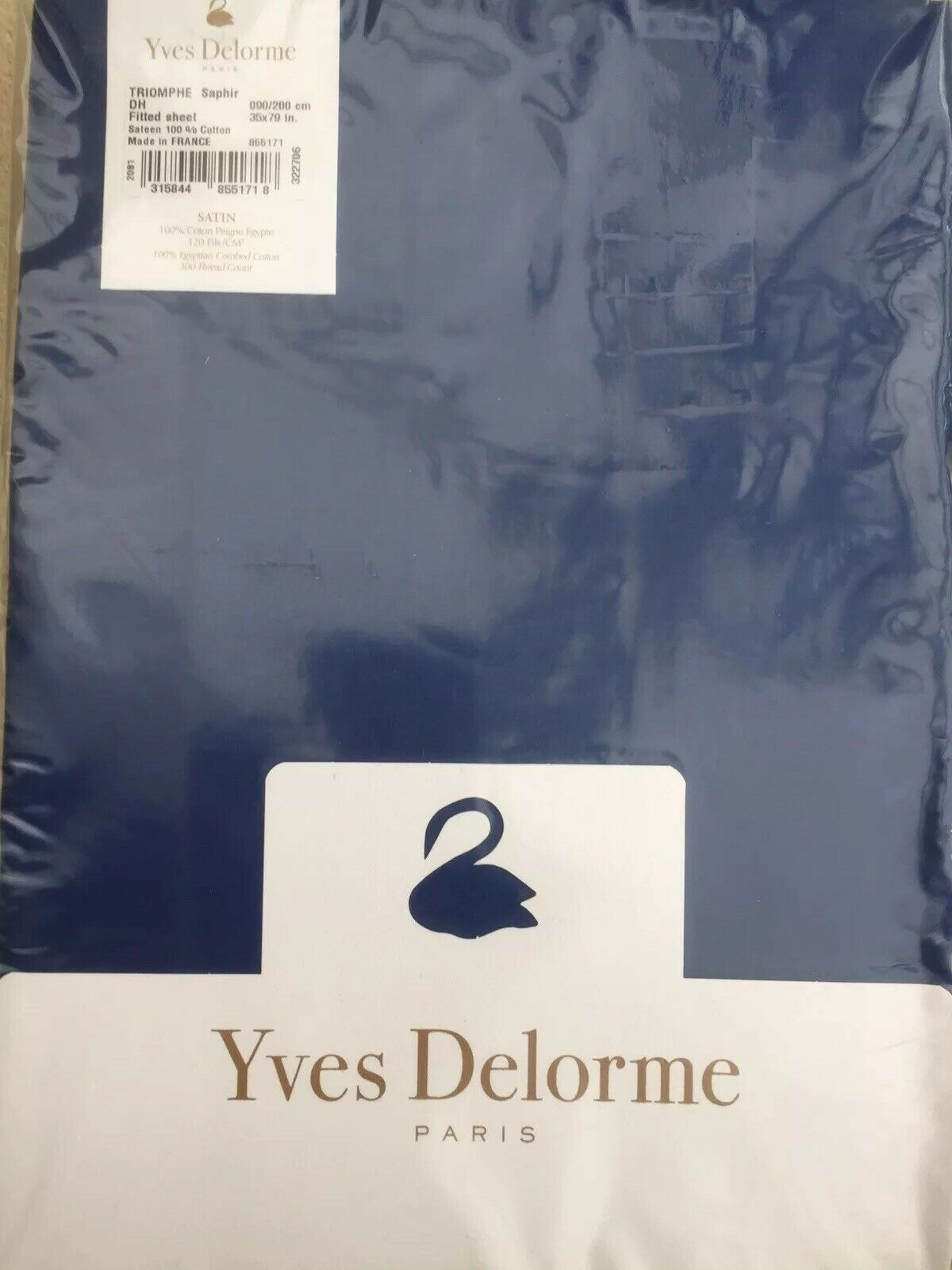 YVES DELORME TRIOMPHE SAPHIR SATIN FITTED SHEET SINGLE LUXURY 90 200 CMS