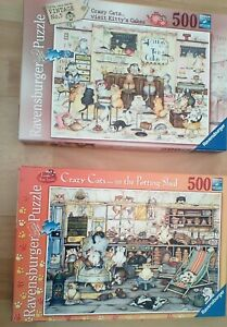 Ravensburger 2 x  500 pieces jigsaw complete,done once,crazy cats