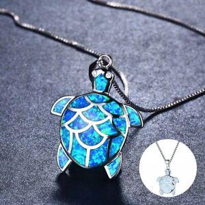 Fashion-Necklace-Woman-Opal-Fire-Charm-925-SilverTurtle-Pendant-Chain-Jewelry