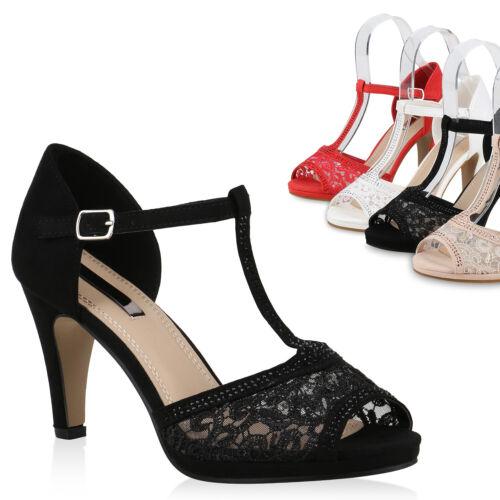 Damen Sandaletten Riemchensandaletten Spitze Strass Party Schuhe 821677 Trendy