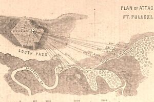 Fort Pulaski bombardment Captured Civil War 1862 historical view map print