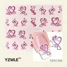 NR-XF1206 FULL NAIL ART STICKERS DIY WATER TRANSFER WRAPS MANICURE DECAL HEART