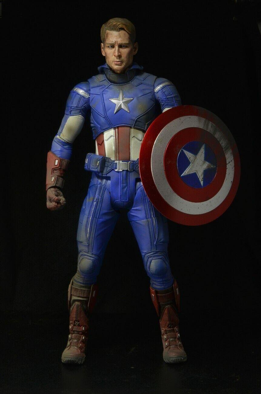 Cabezal dañada Neca Marvel Avengers Battle Damaged Capitán América 1 4 Escala