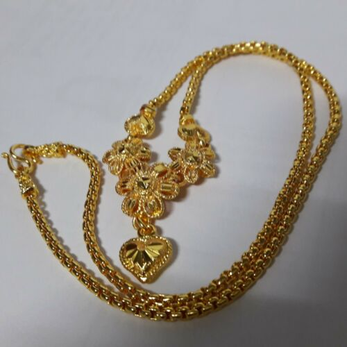 "New Necklace  24 k Yellow Gold Plated Women Size 18.0/"" Floral Thailand"