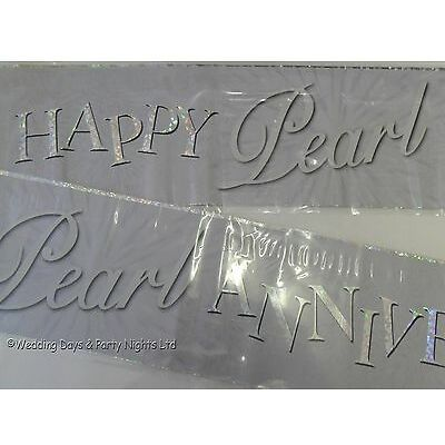 9ft Holographic Happy Pearl 30th Wedding Anniversary Party Banner Decoration