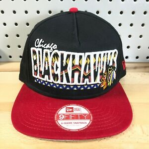 Chicago-Blackhawks-NHL-Hockey-New-Era-A-Frame-9FIFTY-SnapBack-Tribal-Hat-M-L-Cap
