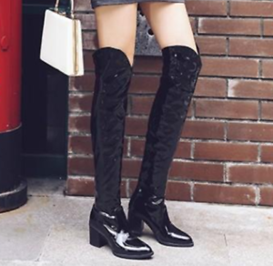 c7b4bb12a08 New Womens Black Patent Leather Over Knee High Boots Shoes Pointed ...