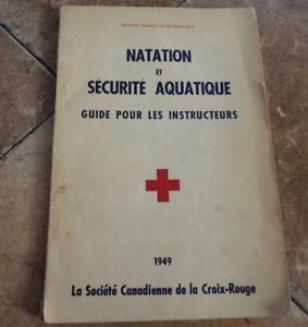 Soft-Cover-Bilingual-Book-Guide-Natation-et-Securite-Aquatique-1949-Croix-Rouge