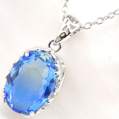 2018 New Jewelry Oval Bi-Colored Tourmaline Gemstone Silver Necklace Pendants