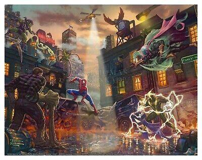 Thomas Kinkade Studios Spider-Man vs the Sinister Six 14 x 14 Metal Box Art