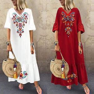 ZANZEA-8-24-Women-Maxi-Long-Sundress-Full-Length-Kaftan-Party-Beach-Floral-Dress
