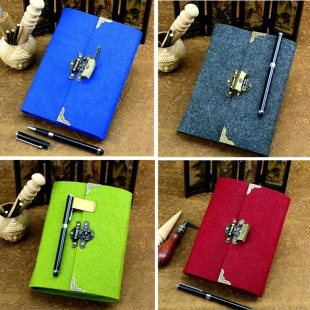 royal blue journal with vintage key and lock personal diary
