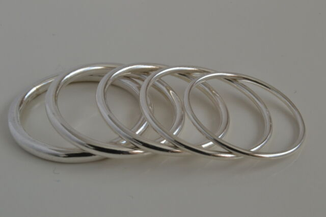 Solid Sterling Silver 925 Minimalistic Fine Thin Plain Band Ring Round Shape