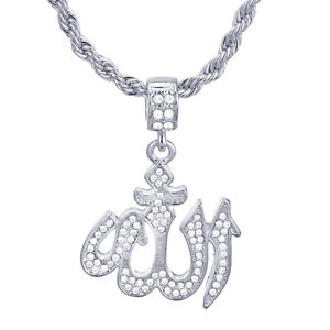 Men-039-s-Silver-Plated-CZ-Iced-Allah-Sign-Pendant-24-034-Rope-Chain-Necklace-HC-1137-s