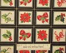 Holiday Magic Bow Poinsettia Christmas Gold Accent Blocks QT Cotton Fabric YARD
