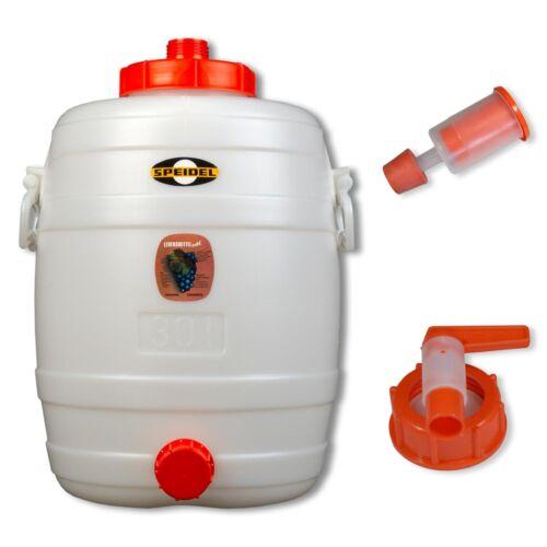 Speidel Getränkefass Mostfass 30 L rund mit Zubehör Gärspund Kunststoffhahn NW15