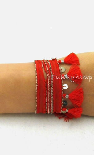 NWT Authentic Chan Luu Red Chiffon Tassel /& Silver Coin Choker Necklace $42