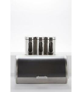 Silver Frosted Bread Bin Tea Coffee Sugar Canisters Jars Kitchen
