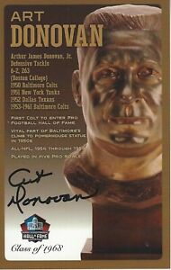 Art Donovan Baltimore Colts Football Hall Of Fame Autographed Bust Card