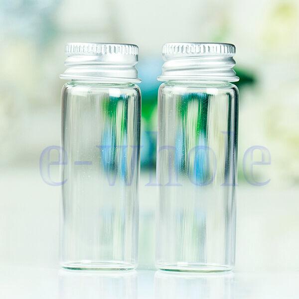 10Pcs Small Tiny Empty Clear Bottles Glass Vials 22x60mm With Screw Lid 14ml EW