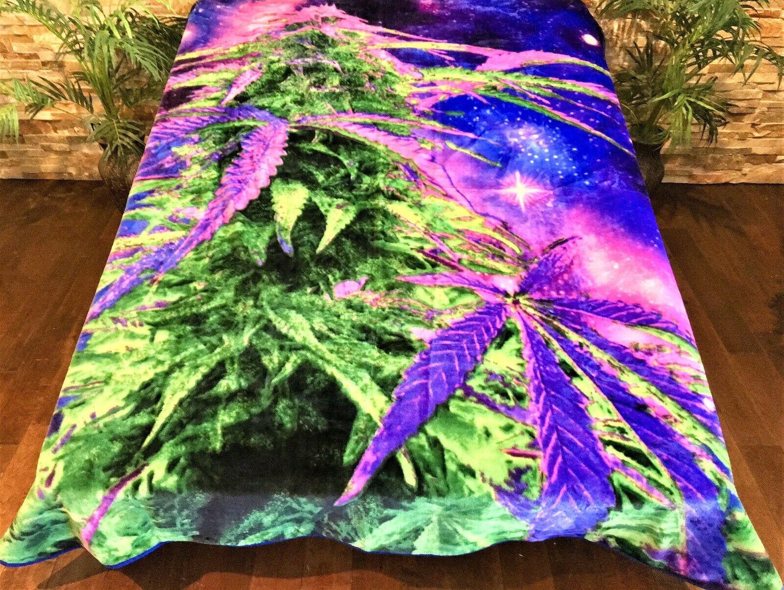 ☀️New  79x96 Luxury MEDIUM Weight Queen Blanket Cosmic Bud Weed Leaf viola