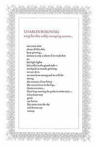 """CHARLES BUKOWSKI """"SONG FOR THIS SOFTLY-SWEEPING SORROW"""" BROADSIDE 150 COPIES"""