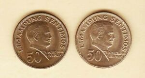Philippines-50-centavos-Marcelo-Del-Pilar-1972-2-coins-Uncirculated-Toned