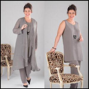 8800d7a9a21 Grey Mother of the Bride Dress Pant Suits Plus Size 3 Pieces Formal ...