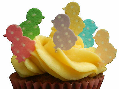 36 X EASTER CHICK POLKA DOT EDIBLE WAFER PAPER CUP CAKE TOPPERS PARTY DECORATION