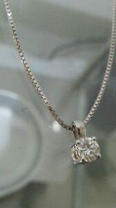 Collana Girocollo Punto Luce Oro Bianco 18kt Diamante 0,25 Ct Vs1 San Valentino
