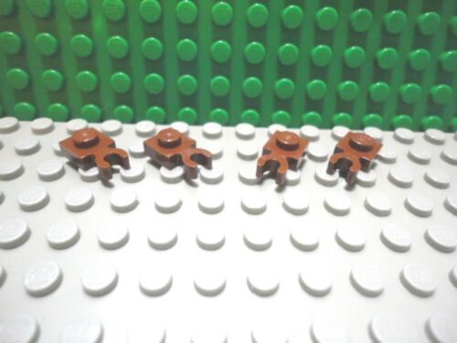 Lego 4 Reddish Brown 1x1 plate with side clip NEW