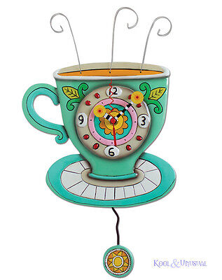 Colourful SUNNY CUP Coffee Tea Designer Wall Clock by Allen Designs