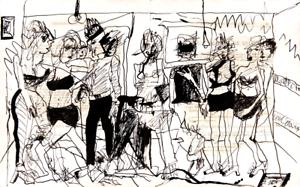 Original-Pen-and-Ink-Drawing-1937-Paris-Vintage-Modern-French-Art-Neal-Turner-NR
