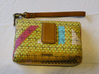 Fossil Sl5096670 Printed Phone Wristlet Bright Zip Phone Multi Id Wallet Nwt^