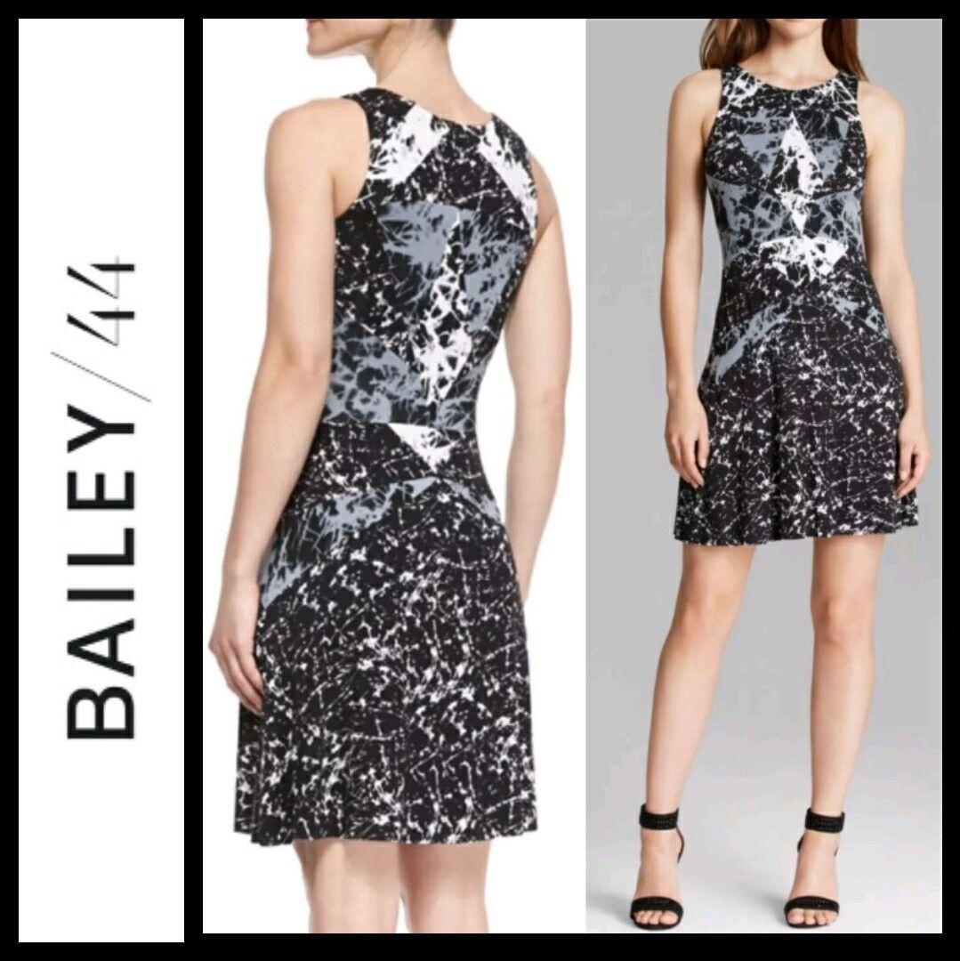 Bailey 44 schwarz & Weiß Marble Print Cubist Jersey Dress  M M3020