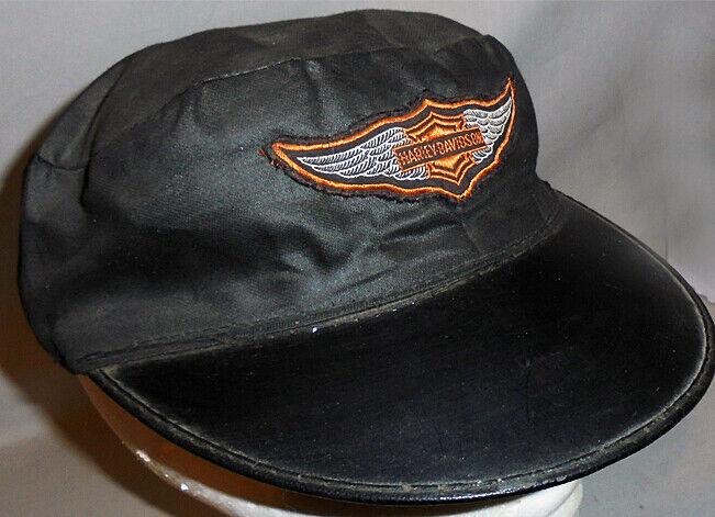 -Rare- 1950's -Harley-Davidson- Vintage Motorcycle Black Hat/Cap w/Wings Patch