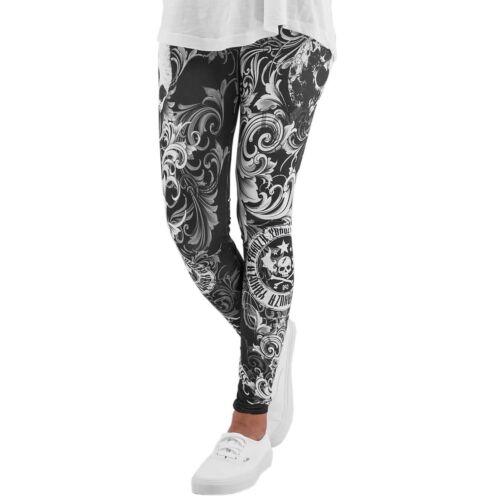 "Leggings LEB 7135 /""Floral/"" All-Over Print black YAKUZA schwarz//weiß"
