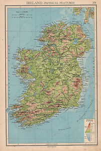 Plain Map Of Ireland.1942 Map Ireland Physical Features Land Heights Central Plain