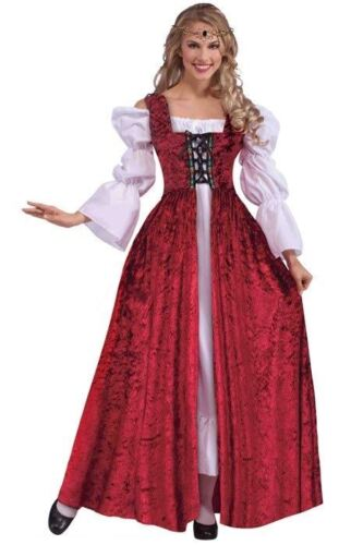 Ladies Medieval  Red Velvet Lace-Up Maidens Gown Without Chemise