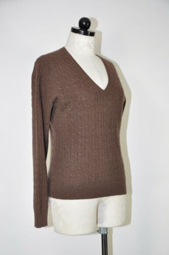 Pull Tweeds brun brun tricot en pour cachemire en femmes torsadé tricoté PwOqBS