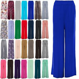 b1a68c3a015ce Image is loading Ladies-Womens-Wide-Palazzo-Leg-Flared-Plain-Trousers-