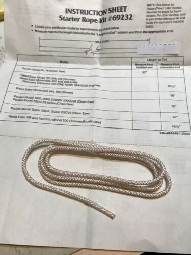 """Poulan Craftsman Chainsaw Starter Rope  530069232 NOS NEW 42"""" Long Fits Many"""