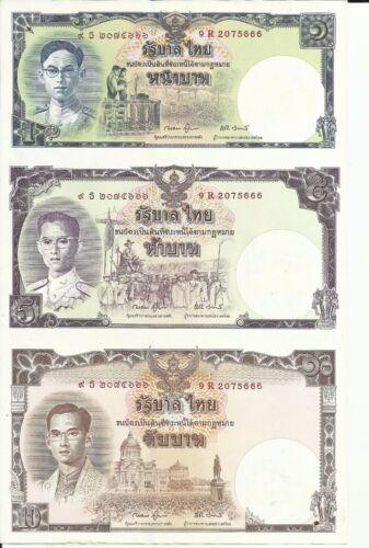 aUNC 5RW 02NOV THAILAND LOT UNCUT SHEET 1-5-10 BAHT P 117 80 ANNIVERSARI KING