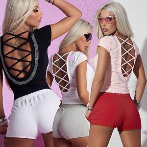 By-Alina-Damentop-Kurzarm-Rundhals-T-Shirt-Rueckenfrei-Shirt-Bluse-Strass-XS-M