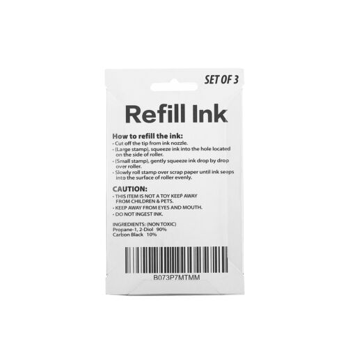 Miseyo Roller Stamp Refill Ink Reill Ink Set 3 Pack Black Ink 5