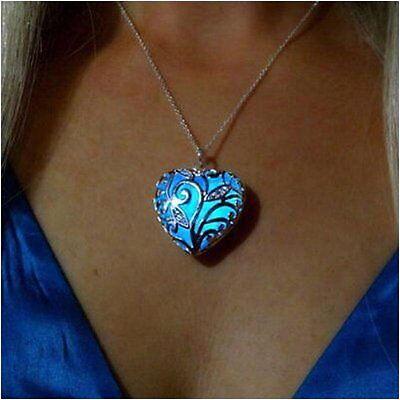 yOUR unIQue SilveR HEart WIngs Blue glow in the dark necklace