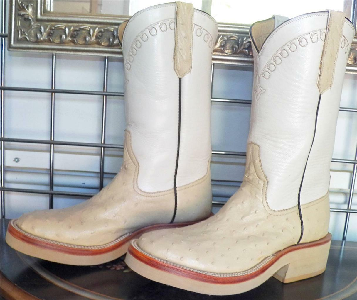 Rios of Mercedes Winter White White White Full Quill Ostrich Cowboy Boots 5D Ladies 6 to 6.5 544830