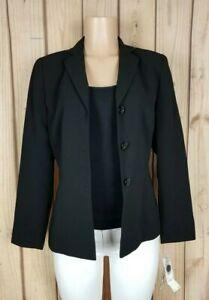 KASPER Separates Womens Size 6 Long Sleeve Button Down Black Blazer Suit Jacket