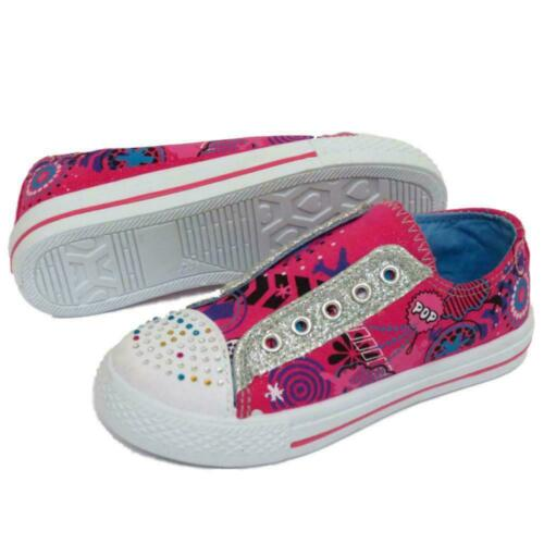 CHILDRENS GIRLS FLAT CANVAS PINK DIAMANTE TRAINER KIDS SHOES PLIMSOLL PUMPS 10-2