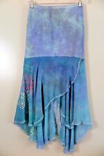 THE PEOPLE OF THE LABYRINTH Blue Peasant Boho Asymmetrical Long Skirt Size M